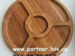 Деревянная тарелка, менажница. Ø 30 см. Дуб. - фото 1