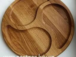 Деревянная тарелка, менажница. Ø 30 см. Дуб. - фото 2